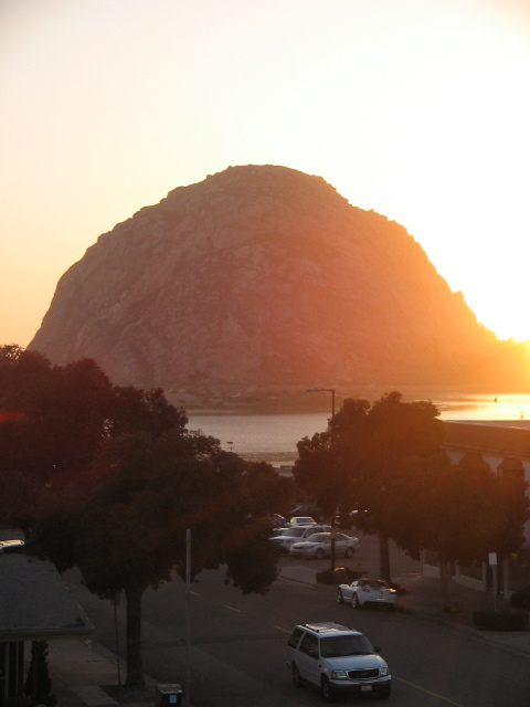 Morro Rock at sunset.