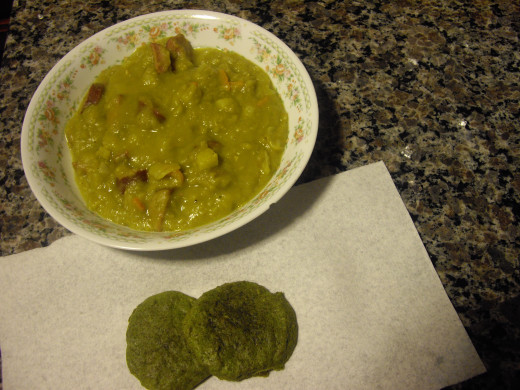 "Sharyn Slant's ""Split Pea Soup"" (top), and my first attempt at Peggy W's ""Spinach Balls"" (bottom)"