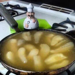 Add Pear Slices last, and let marinate. Sauce will thicken some as it sets.