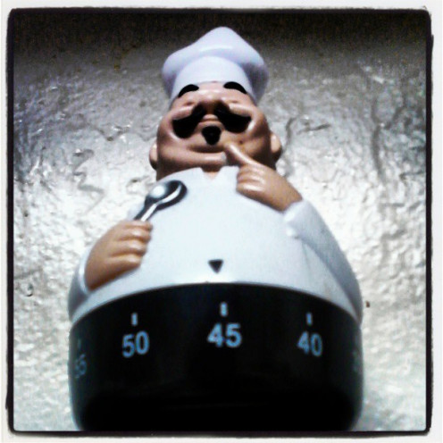 Chef Salter helps me keep an eye on the time.