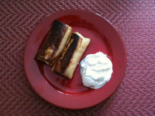 Farmer Cheese (Cottage Cheese) Blintzes with Sour Cream