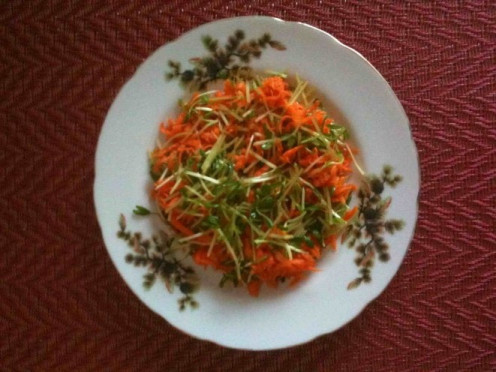 sweet pea shoots and carrot salad