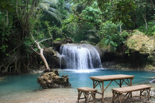 Kawasan Falls, Badian, Cebu, Philippines - the middle little waterfalls.