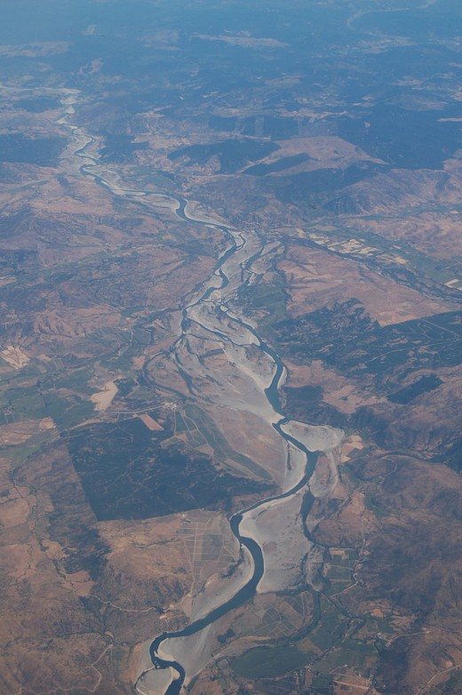 Aerial view of the Maule River, the southern limit of the Inca Empire after the decisive battle with the Mapuche