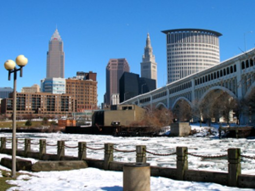 The downtown core of Cleveland, seen from across the ice-clogged Cuyahoga River.