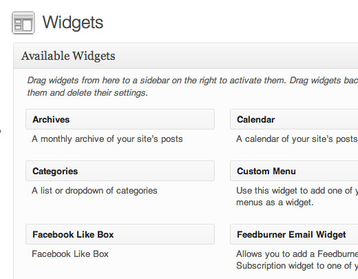 Once your Plugin is activated, you'll find it listed under your Available Widgets.