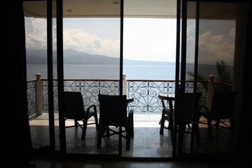 Santander, Liloan,  Cebu, Philippines, Hotel Eden Resort - seafront above the cliff - room interior - the terrace