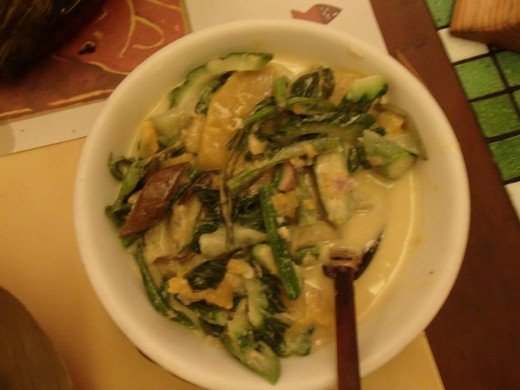Filipino Native Food - Pinakbet ( variety of exotic Filipino vegetables with coconut milk) - Light House Restaurant, Cebu City, Philippines