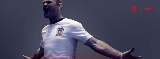 Wayne Rooney displaying the new England kit. Manufactured by Nike