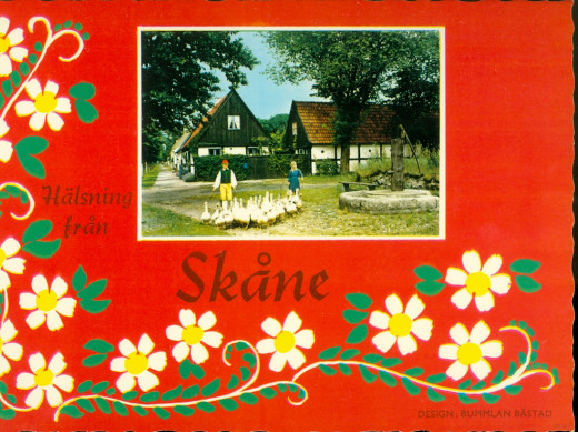 Postcard of Sweden.  Malmo sits in the Skane Region.