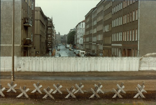 East Berlin apartments over Berlin Wall