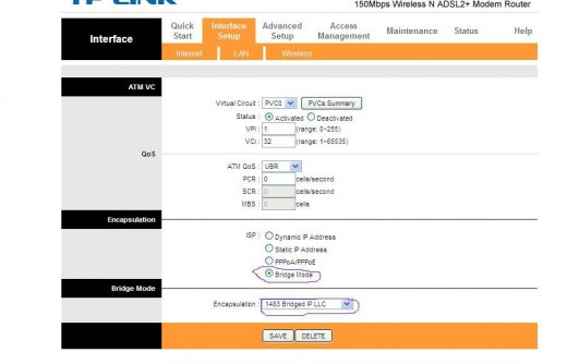 Typical DSL   modem/router   broadband configuration of BSNL ISP in India. TP-LINK ADSL router