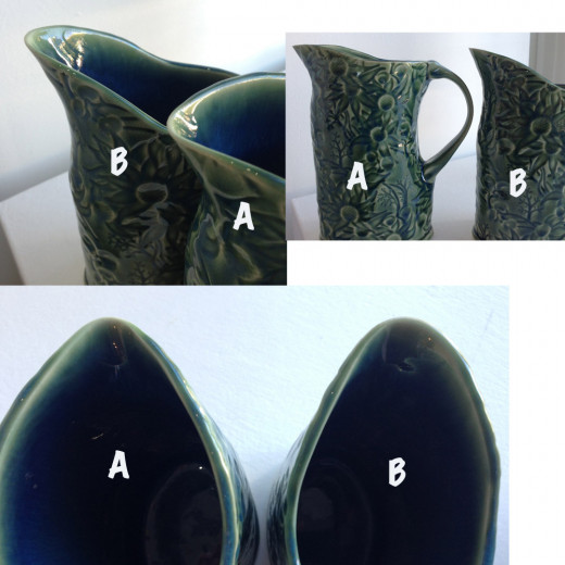 Which is the best pouring spout on these jugs; A or B? They both pour well, but A is the perfect pourer with no annoying little drip. Potter: Denise McDonald, DM Pottery