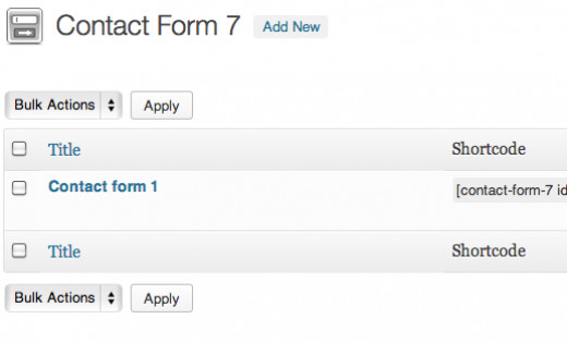 Find your Contact Form's Shortcode when you click on Settings from the Plugins page.