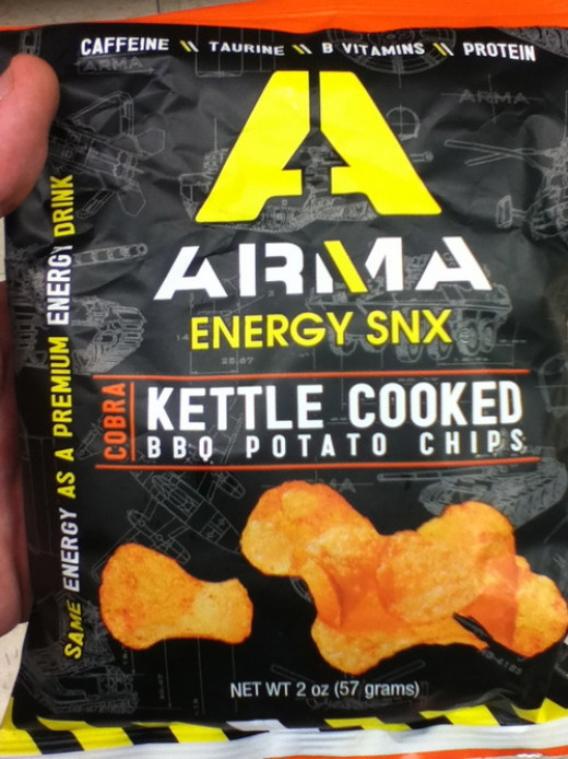 Caffeinated potato chips are some of the many foods these days aimed at young men.