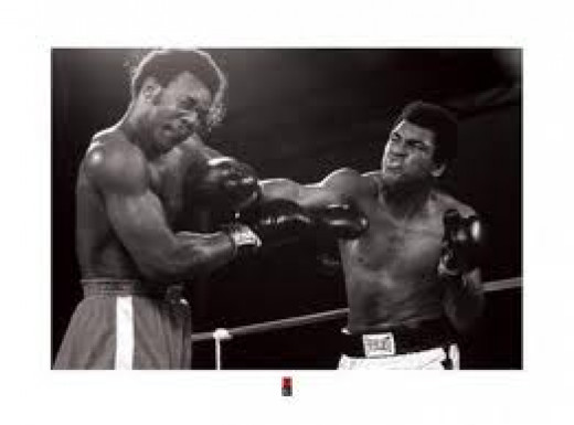 Muhammad Ali beat George Foreman by 8th round knockout to become a two time heavyweight champion.