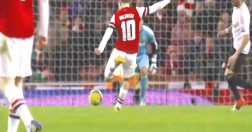 Wilshere about to score against Swansea.