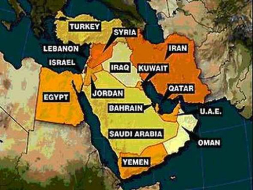 Israel is the tiny sliver of yellow, encircled by Lebanon, Syria, Jordan, Egypt and the Mediterranean Sea.