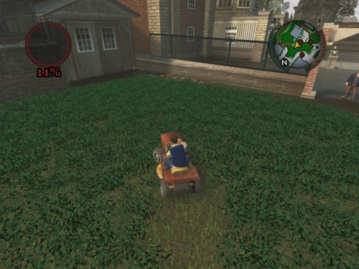 The Lawnmowing minigame is available to make some extra cash.  Of course this kid really shouldn't be allowed within a hundred feet of a riding mower.