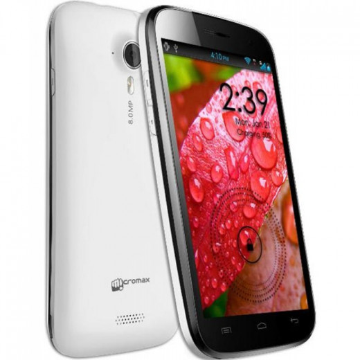 The Micromax Canvas HD A116 (Front and Back View)
