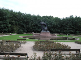 Chopin's bronze statue in the Lazienki (Royal Baths) park, erected in 1926 it was also destroyed by the Nazis, and rebuilt after the war.  Free Chopin recitals are performed at its base during summer afternoons.