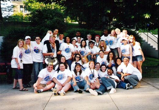 Orientation Navigators at Salem State 2000.  (Pff, Andi French, that shirt wasn't meant to be a midrift.)