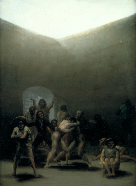 Yard with Lunatics by Francisco de Goya (1794) --  The painters Francisco de Goya and Théodore Géreicault were the first to use the mentally ill as subject matter.  Both painters were motivated by concerns about their own mental health.
