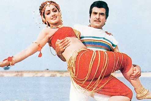 A still of Sridevi and Jeetendra from the movie Himmatwala (1983)