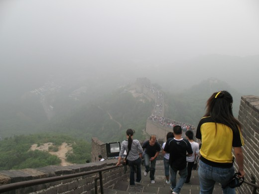 Walking down on the Great Wall