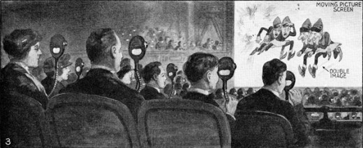 An audience watching a 3-D film in Teleview 3D 1922. Form the Film The Man from M.A.R.S.