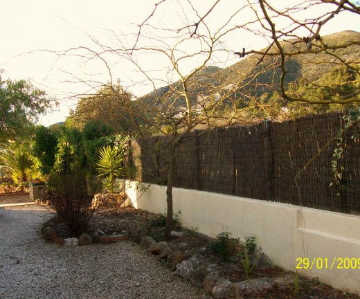 Brushwood fencing compliments a textured wall with natural good looks
