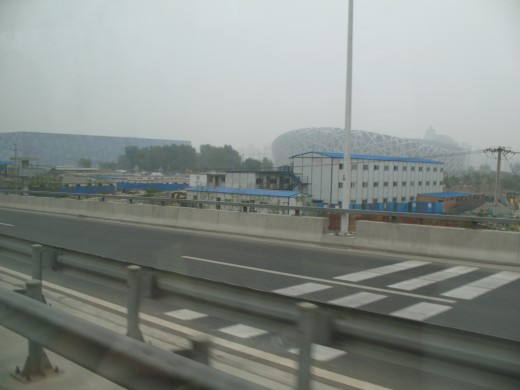 The Olympic Bird's Nest Stadium in the distance