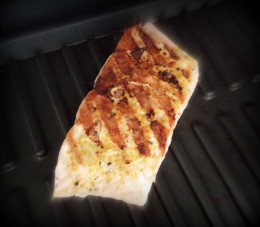 Salmon cooked for 3 minutes on the grill.