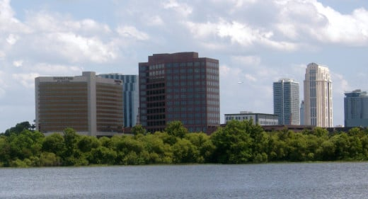 City Beautiful, Downtown Orlando Skyscrapers as seen from across Lake Ivanhoe, College Park. A great place to work for thousands of Orlando residents.