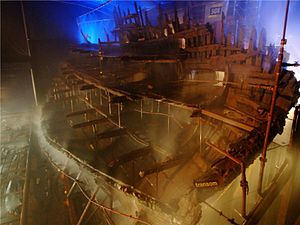Mary Rose undergoing conservation.