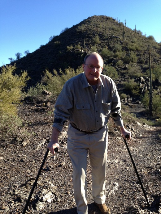 On the trail in Cave Creek. Canadian Crutches.