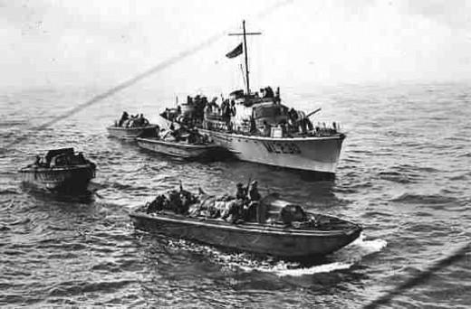 Small landing craft and gun boat