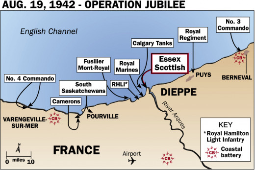 Map of the beaches at Dieppe