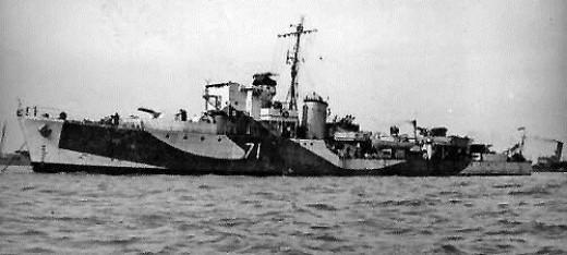 Hunt class destroyer - HMS Berkeley - lost in the landing