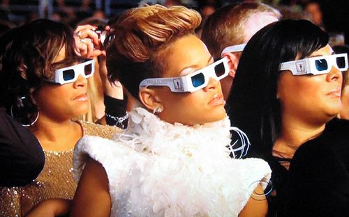 Rihanna at a Grammys presentation.