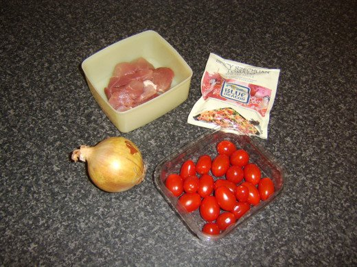 Ingredients for pork and szechuan tomato stir fry