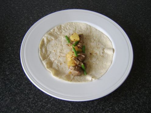 Spicy pork, pineapple and green beans wrap