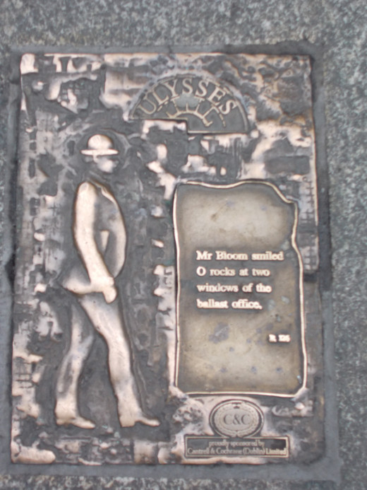 Ulysses, a plaque found in the sidewalk on O'Connel St