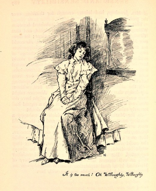 Marianne's sadness after Willoughby sends back a letter returning her lock of hair in Sense and Sensibility by Jane Austen.