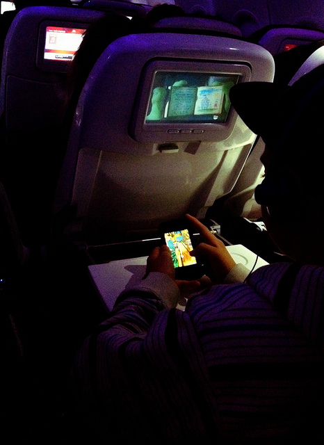 Mobile gaming on an airplane