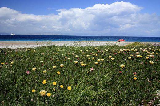Rhodes town beach in spring. Rhodes