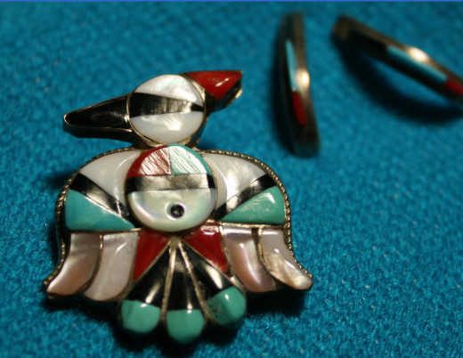 This pen and earrings were purchased on Second Mesa, Hopi, Arizona, USA.