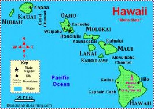 Location of Hawaii and the islands.