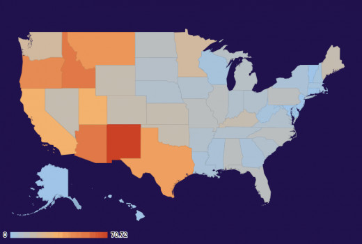 US state UFO intensity map for April 2013.