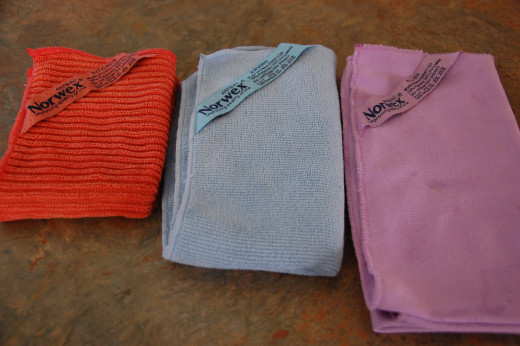These are the three Norwex cloths I used for cleaning the kitchen